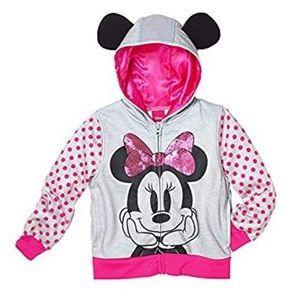 Disney Minnie Mouse Sequin Zip Hoodie ears EUC